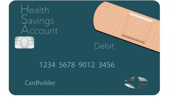 Here is a Health Savings Account medical insurance debit card in a modern design and is decorated with an adhesive bandage to go with the medical spending theme.